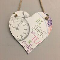Alice In Wonderland  Wooden Hanging Heart Tea Party Decoration 12cm