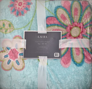 Laura Collection Plush Blanket KING Blue Luxurious Soft Valentines Gift