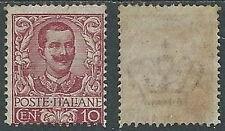1901 REGNO FLOREALE 10 CENT DENTELLO IN ALTO DIFETTOSO MNH ** - W252