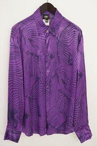 Men Versace Shirt Casual Purple Shirt Viscose Made In Italy 2XL XXL XMD5