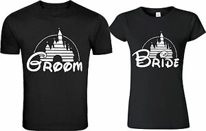 Disney castle Groom & Bride matching cute designs for newly married Couple