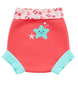 MOTHERCARE Baby Girls Swim Nappy Cover Swimming Pink Neoprene Reusable Suit NEW