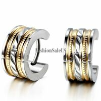 Silver Gold Tone Stripe Polished Stainless Steel Men's Huggie Hoop Earrings 2pcs