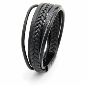 Leder Armband Herren Armband schwarz & braun Edelstahl Magnet Verschluss Männer