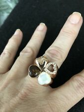 FOUR HEARTS GOLD TONED RING-AMBER/CRYSTALS-SIZE:8-MINT CONDITION!