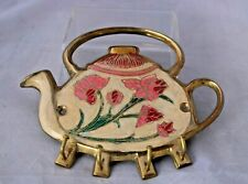 Brass Enamel Teapot Key Rack Wall Hanging