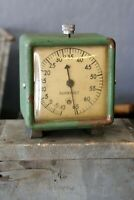 Vintage Fahrenheit Thermometer Dial Green Clock Face antique meter industrial
