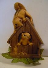Adorable hard plastic Homco Okatfyk Chipmonks in a birdhouse from 1977