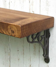 Chunky Solid Wood Rustic Floating Mantel Shelf 7 x1,75'' Wall Brackets/ 17,5 cm