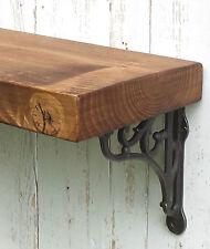 Chunky Solid Wood Rustic Floating Mantel Shelf 5,75''x1,5'' Wall Brackets 14,5cm
