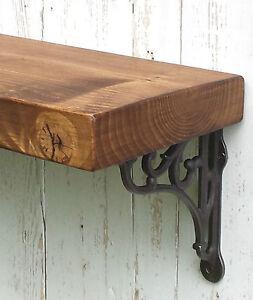 Chunky Solid Wood Rustic Floating Mantel Shelf 8 x1,75'' Wall Brackets 20cm deep