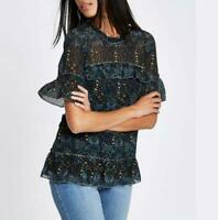 RIVER ISLAND RUFFLE SEQUIN FLORAL TOP SIZE 6 - 18