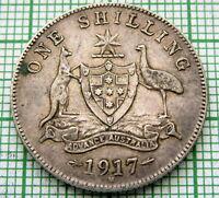 AUSTRALIA GEORGE V 1917 M ONE SHILLING, SILVER BETTER GRADE PATINA
