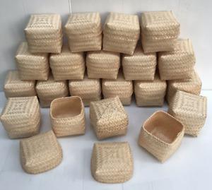 "Vintage Thai Handicraft Kratip Sticky Rice Small Bamboo Serving Basket Size3""X3"""