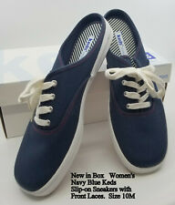 New in Box Women's Keds Navy Blue Canvas Slip-on Tennis Shoes Sneakers Size 10M