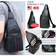 Men's Leather Sling Bag Chest Shoulder Cross Body Cycle Day Packs Satchel Travel