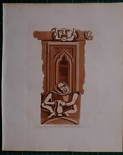 c1780 ANTIQUE PRINT ~ GROTESQUE FIGURE OVER PORCH AT CHALK CHURCH KENT