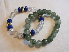 Beautiful Stretch Bracelet Set 2 Green Clear Blue Beads 3/8 Inch Wide NICE