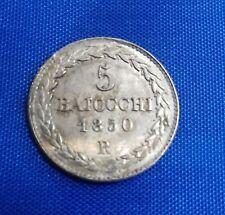 Papal 5 baiocchi Pius IX silver 1850 R