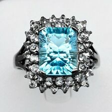 4.20 Carat Natural Light Greenish Blue Topaz Ring With Topaz in 925 Silver