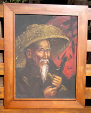 "Ritratto cinese pittura ad olio su tela da Tom Wong 23,5 ""by 29,5"""