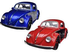 1959 VOLKSWAGEN BEETLE BLUE & RED SET OF 2 CARS 1/24 JADA 91697-SET