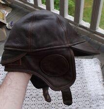 RARE Vintage Leather Men's Aviator Hat Crown Cap Canada Size M Helmet LOOK NR