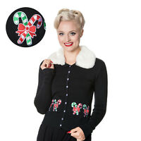 Banned Cat String Scallop Embroidered Retro Rockabilly Womens Collared Cardigan