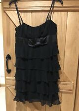 Black Frilly Dress 12 With Straps Bnwot New Look