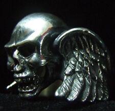 Stainless Winged Skull Biker Ring Custom Size Chopper Handmade Gothic MC R-5ss
