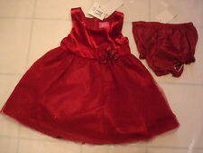 18 Mths Pinky Infant Girl 2 pc sleeveless party red Flowers Party Dress NWT