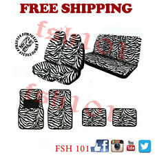 New Universal Fit Safari Zebra White Low Back Seat Cover Wheel Cover Floor Mats