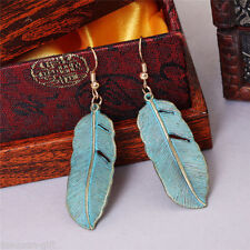 Cute New Gold Alloy Large Patina Leaf Feather Dangle Drop Earrings