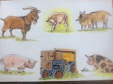 Original Watercolour Painting Farmyard Animals Goats Bull Pig Ford Major Tractor