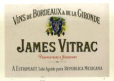 AFFICHE ANCIENNE VIN DE BORDEAUX JAMES VITRAC ESTRIPEAUXT MEXIQUE