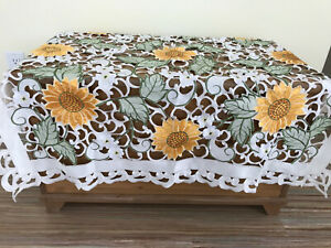 """Sunflower Lace Cutwork Decorative 45"""" Square Tablecloth Cheerful Country Floral"""