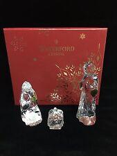 Waterford Crystal 3 Piece Holy Family Nativity Set w/ Box Mary Joseph Baby Jesus