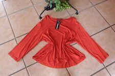 TRANSPARENTE Basic Shirt Damen 44 46 EG NEU! rot Stretch LAGENLOOK