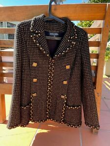Chanel 11A Paris-Byzance Black Gold Gripoix Buttons Jacket Coat Sz.36