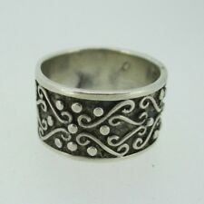 Vintage Sterling Silver Cw Lacy Scroll Band Ring Size 6 3/4