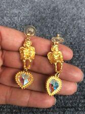 Gorgeous vtg Angel Cherub Heart Crystal  Gold tone Pierce earrings