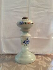 Antique French White Flowered Opaline Oil Lamp