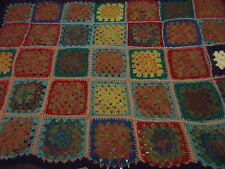 Vintage Handmade Crochet Knee Granny Rug Wool Blend Multi colored Square VGC