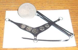 Dollhouse Miniature Cowboy Western Horse Breast Collar Black Silver V1 1:12 Tack