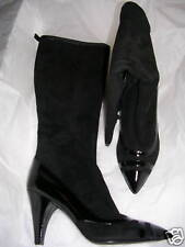 Marc Jacobs Black Suede & Patent Tall Boots 38.5 8.5 M