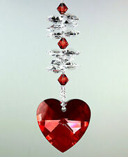 Big 40mm Red Magma #6202 Heart Sun Catcher & Double Stack m/w Swarovski Crystal