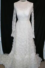r- WEDDING GOWN SZ 4? GORGEOUS WITH TRAIN LACE OVER ALL ANTIQUE COLOR VINTAGE