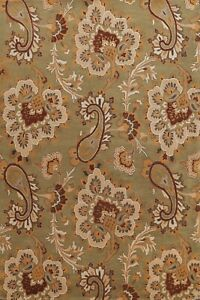 Green Floral Traditional Paisley Oriental Area Rug Hand-Tufted Wool Carpet 9x12