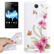 TPU Case für Sony xperia TX Schmetterling Blumen rosa weiß Hülle Schutzcase