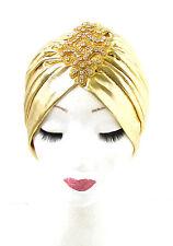 Gold Silver Rhinestone Beaded Turban Headpiece 1920s Flapper Vintage Cloche 918